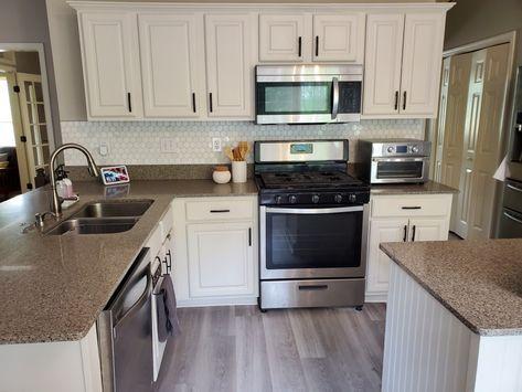 White kitchen backsplash kitchen, Hexagon kitchen tile, update #homedepot #kitchen #backsplash