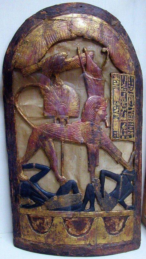 Amnte Nofre - Egyptian Religion   — ceremonial shield with King TutankhAmun...
