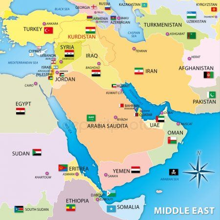 Cartina Oriente.Mappa Del Medio Oriente Con Bandiere Middle East Map Middle East Culture Map