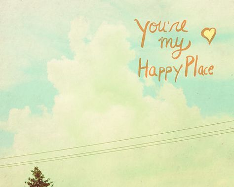Happy Place // Typographic Print, Landscape, Romantic, Nature Photo, Childrens Art, Kids Room, Shabby Chic Nursery, Sky, Clouds, Happy Place, $18.00