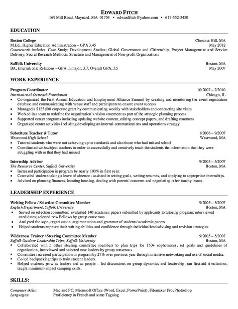 Sample Higher Education Resume - http\/\/resumesdesign\/sample - education advisor sample resume