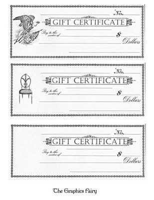 Free Printable  Gift Certificates  Free Printable Gift