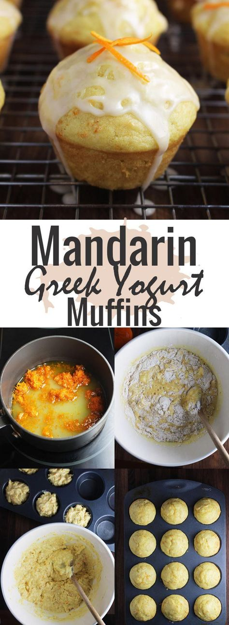 These easy fresh and moist mandarin orange muffins made with greek yogurt make a quick breakfast on the go or a healthy snack. A light glaze adds an extra punch of mandarin flavor and sweetness. If you're looking for breakfast ideas or snack ideas, this is one of my favorite muffin recipes. #muffins #healthysnacks #breakfast #snacks #breakfastrecipes