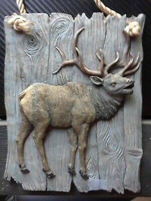Moose Deer Elk rustic country lodge wall decor plaques cabin pictures signs