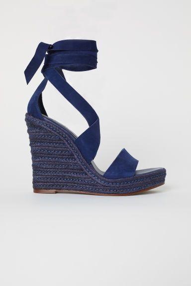 af6480c93ca30 Suede Wedge-heel Sandals - Dark blue - Ladies   H&M US   Clothes ...