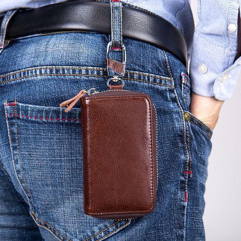 Leather Housekeeper Holder Car Keychain Key Holder Bag Case Wallet Pocket Cover