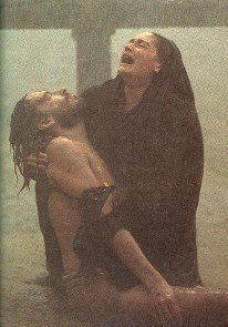 This image is heartbreaking....And you wonder why Catholics admire Mary- HIS MOTHER