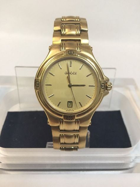 gucci 9700m. gucci mens quartz gold plated vintage watch 42oom in its presentation case | watches pinterest vintage gucci 9700m l