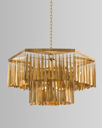 John Richard Collection Two Tiered 12 Light Gold Leaf Chandelier Wood Bead Chandelier Chandelier Beaded Chandelier