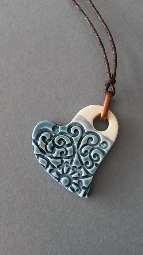Crystal blue ceramic heart pendant copper ring gift for her Polymer Clay Beads, Polymer Clay Crafts, Diy Clay, Metal Clay Jewelry, Ceramic Jewelry, Clay Christmas Decorations, Precious Metal Clay, Clay Ornaments, Clay Creations