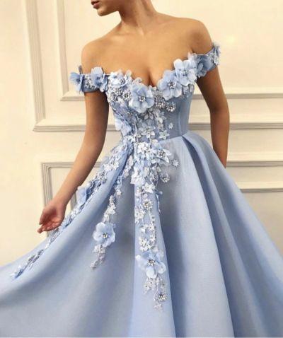 Off Shoulder Elegant Blue Evening Dress from KoKo Fashion