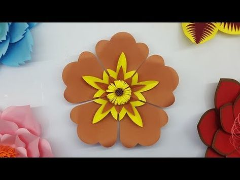 Como Hacer Flores Con Hojas De Papel Paper Flower Backdrop With Free Template Youtube Flores Hojas
