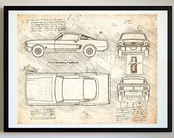 Ford mustang fastback 1965 da vinci sketch mustang artwork ford mustang fastback 1965 da vinci sketch mustang artwork blueprint patent prints malvernweather Gallery