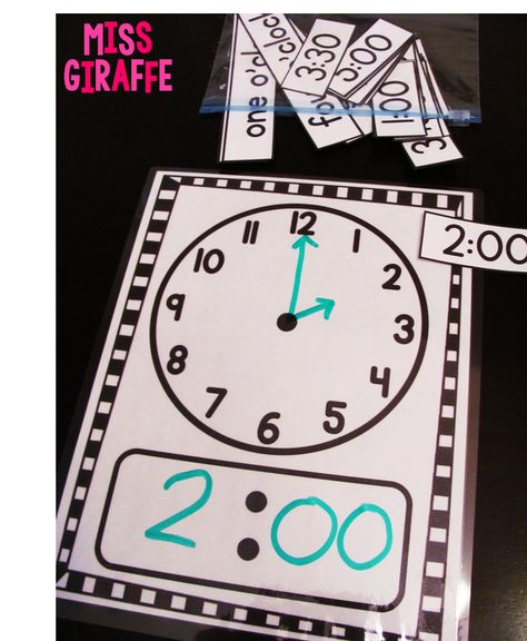 Telling time in first grade ideas: Laminate a clock mat and draw the time with dry erase markers Teaching Time, Teaching Math, Teaching Measurement, Teaching Clock, Math Resources, Math Activities, Telling Time Activities, Telling Time Games, Leadership Activities