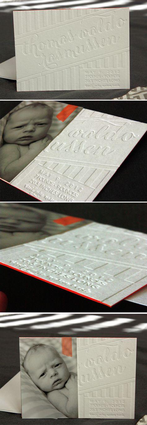 Custom #letterpress birth announcement by #lifestylecrafts