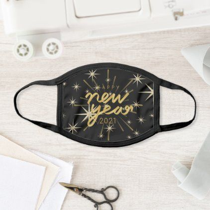 Happy New Year 2021 Gold And Black Elegant Design Face Mask Zazzle Com In 2020 Elegant Design Face Mask Personal Protective Equipment