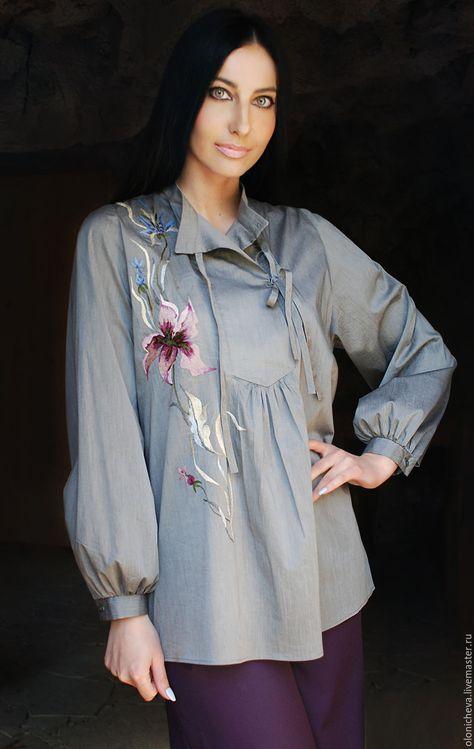 2fa50a14d8b Купить или заказать Вышитая серая блуза из хлопка
