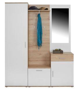 Garderobe Mia B 150cm Weiss Matt San Remo Eiche Dekor Garderobe