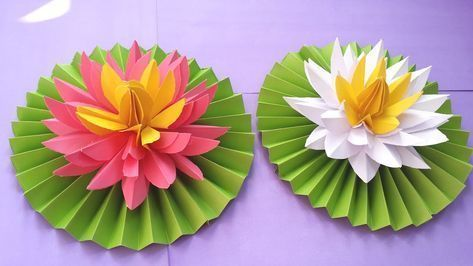 Diy How To Make Most Beautiful Origami Lotus Water Lily With Paper Youtube Easy Paper Crafts Paper Flowers Paper Lotus