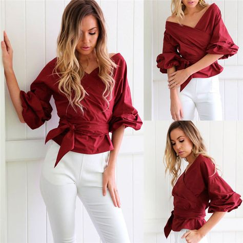 3eed02c845667 Women Off Shoulder Shirt V-Neck Blouse Bardot Top Ruffle Sleeve Waist Tie  Cross