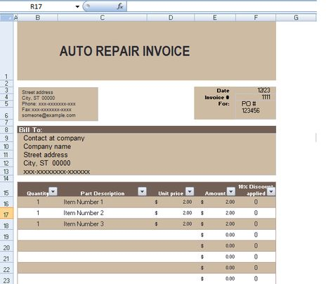 Auto Repair Invoice Template In Excel Format ExcelTemple Excel - auto shop invoice template