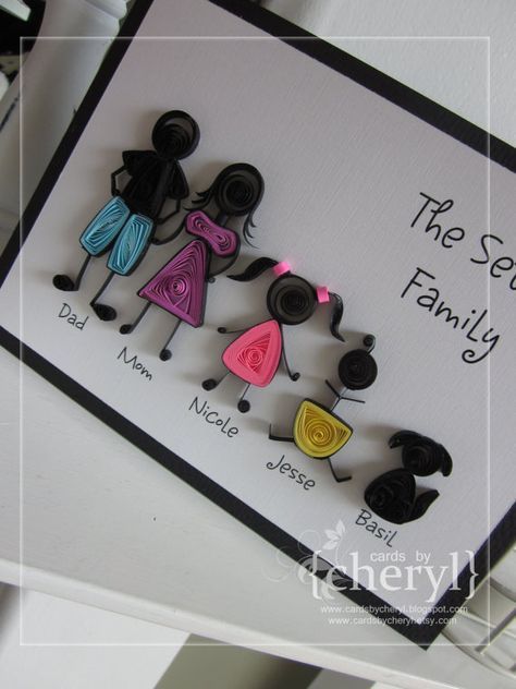 Quilled Stick Family Personalized to your por APaperLifeOriginals