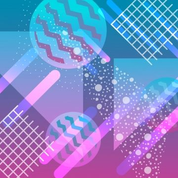 Neon Background With Gradient Geometric Pattern Hologram