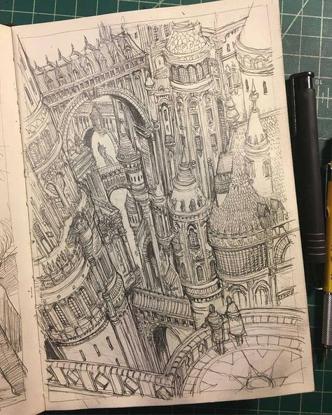In this Sean Murray ( shows us one of the glorious views from Tower City a district in … Art Et Illustration, Illustrations, Arte Sketchbook, A Level Art, Sketchbook Inspiration, Pen Art, Art Drawings Sketches, Architecture Art, Architecture Journal