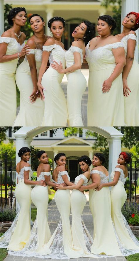 Unique Prom Dresses, Ivory Lace Appliques V-neck Mermaid Bridesmaid Dresses, There are long prom gowns and knee-length 2020 prom dresses in this collection that create an elegant and glamorous look
