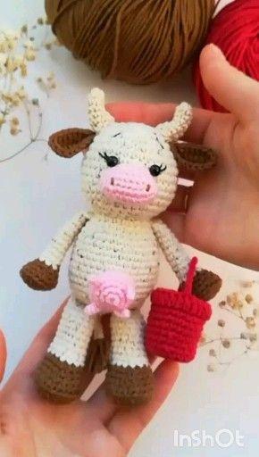 easy crochet pattern cow with milk #crochetpattern #amigurumipattern