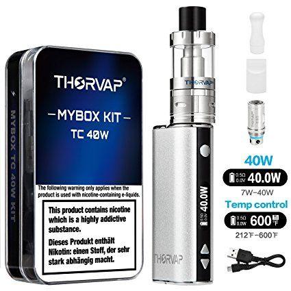 Thorvap E Zigarette Starterset 40w Tc Kit 2200mah 0 5ohm 2ml Sub Ohm Verdampfer Tank Tc Temperaturregel Nikotin Elektronische Zigaretten Nichtraucher Werden