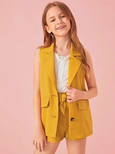 Girls Notched Collar Button Front Vest Blazer & Belted Shorts Set Women Clothes For Cheap, Collections, Styles Perfectly Fit You, Never Miss It!