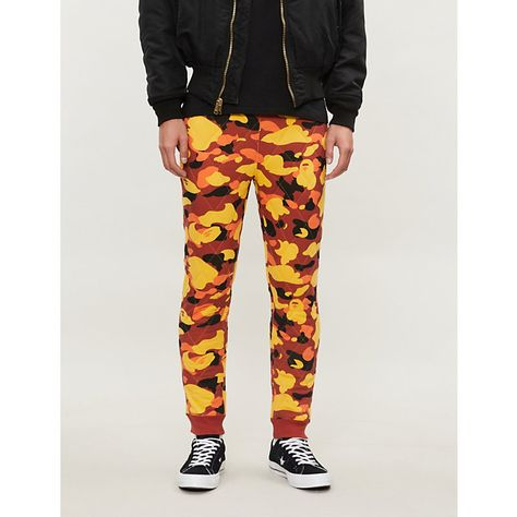 53c1e4d4 A BATHING APE CAMOUFLAGE-PRINT QUILTED STRETCH-JERSEY JOGGING BOTTOMS.  #abathingape #cloth