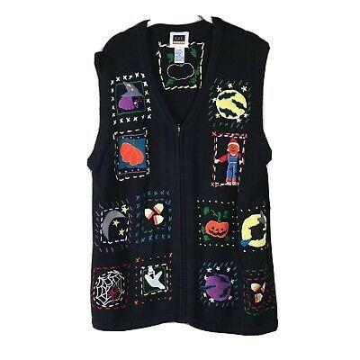 Halloween 2020 Cst CST Sport Halloween Sweater Vest Black Bats witch pumpkin Women's
