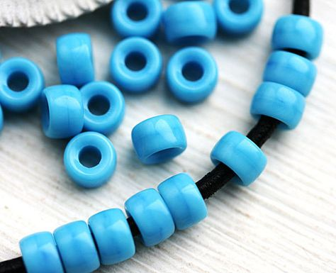 100 x Light Blue Mini Tile Crow Glass translucent Beads Size 7mm x 3mm with a 2mm hole