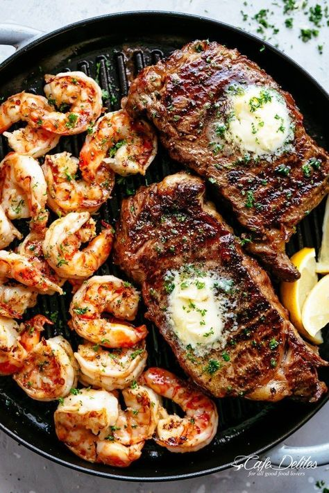 Grilled Steak and Shrimp Slathered In Garlic Butter Makes For The Best Steak Recipe A Gourmet Steak Dinner That Tastes Like Something Out Of A Restaurant, Ready And On The Table In Less Than 15 Minutes Good Steak Recipes, Grilled Steak Recipes, Grilling Recipes, Beef Recipes, Grilled Steaks, Cake Recipes, Healthy Recipes, Grilling Ideas, Shrimp Recipes