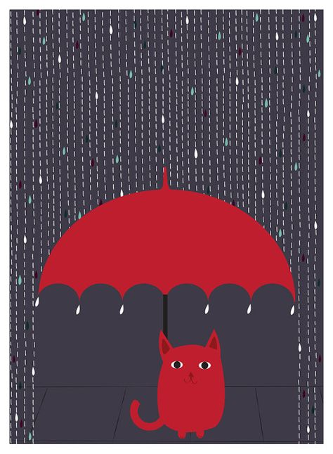 """""""Rain Kitty"""", Cat Art Print by strawberryluna. Little red kitty with his little red umbrella, enjoying a rainy night. (Available in our Etsy shop in 3 standard-frame sizes!)"""