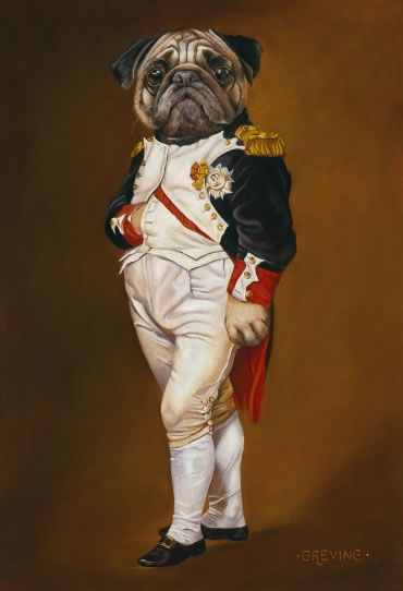 Portrait of a Pug  Inspired by Jacques-Louis David's Napoleon in His Study, 1812. Oil on canvas by Barbara Greving