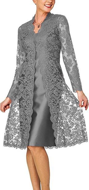 H S D Women S Sheath Short Satin Mother Of The Bride Dress With Lace Jacket Gold At Amazon Women S Clot Vestidos De Encaje Ropa Vestidos Elegantes Para Senoras