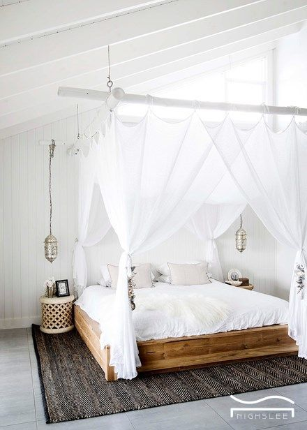 White Bedroom Idea Couple Soft Wood Bed Frame Design Country