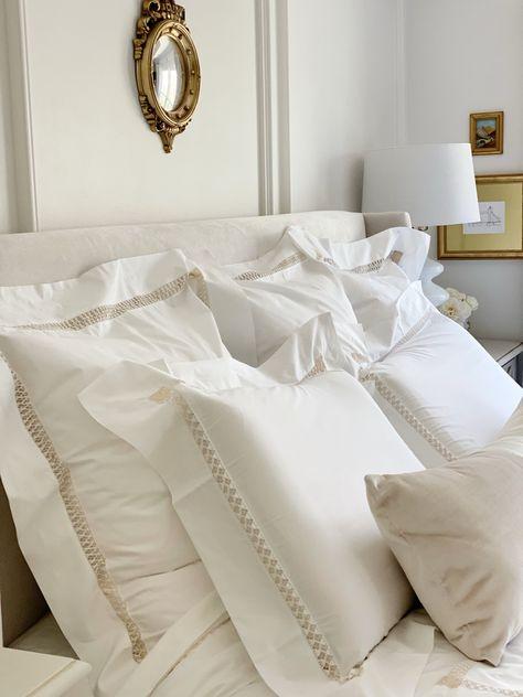These Scweitzer linens are everything! #luxelinens #luxurylinens #bedroomgoals #neutralbedroom #whitebedroom #masterbedroomideas