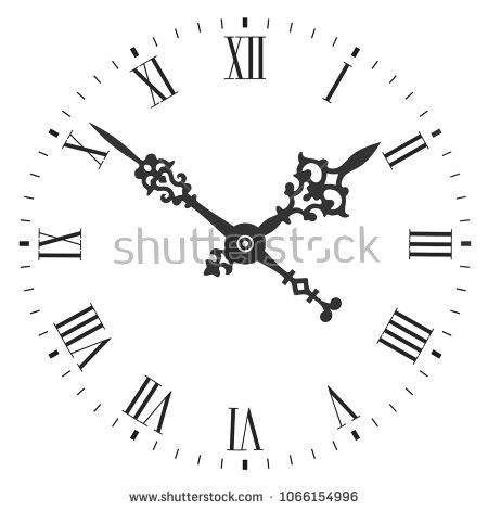Elegant Clock Face With Roman Numerals And Tick Marks Placed On A