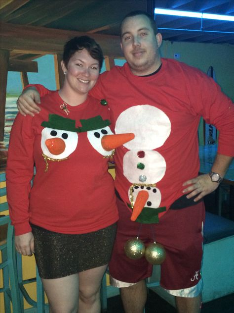 Ugly Christmas sweater party idea for couples. Big hit! Everyone LOVED them!