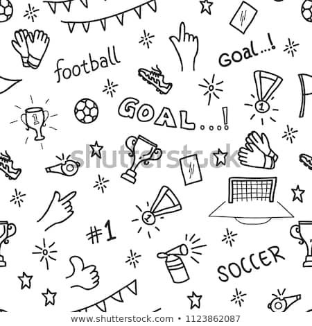 Sport Seamless Pattern With Soccer Doodles On A White Background Desain