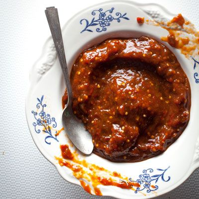 Salsa de Chile Pasilla Oaxaqueño y Miltomate (Chile and Tomatillo Salsa):   Its rich spiciness enhances slow-roasted carnitas, grilled chicken, and more.