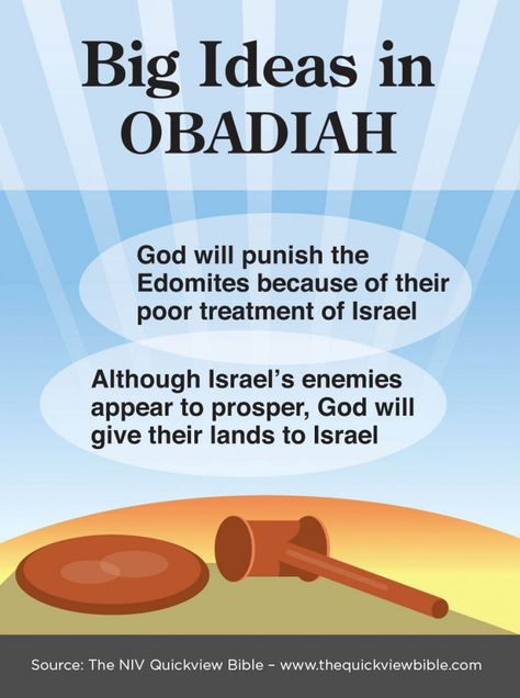 Obadiah at a glance: G-D will judge all those who are against his children/ chosen people (Jews)