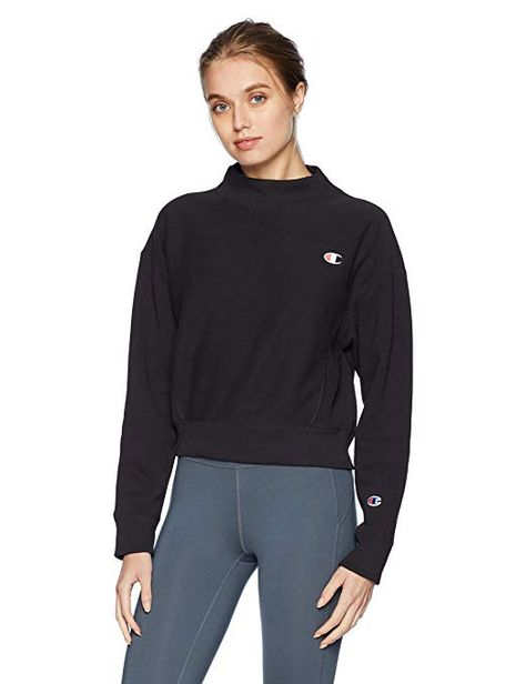 Champion Womens Reverse Weave/® Mock Neck Crop Small Left Chest C Sweatshirt