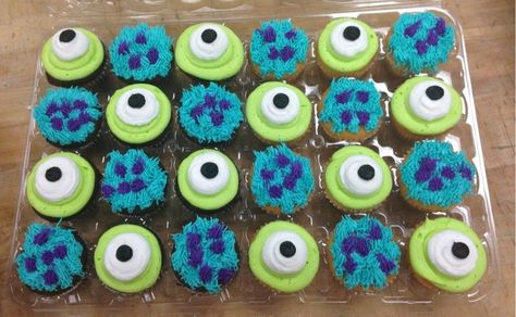 Monster cupcakes, could easily work for a Monsters Inc theme, or just a general monster party.