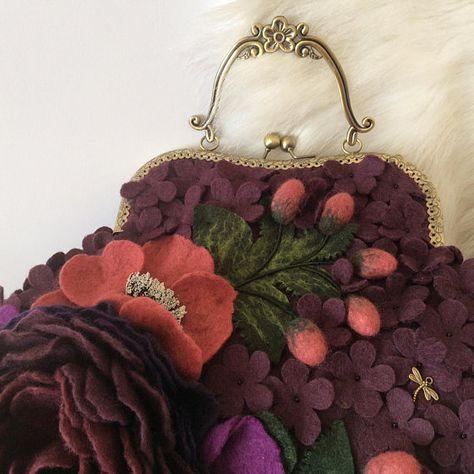 Women S Bag Felt Flower Bag Felted Bag Large Felted Bag Felt Hand