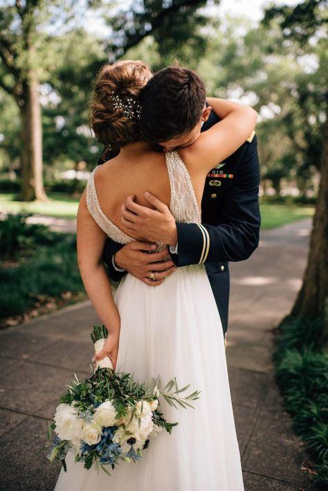 Southern Weddings romantic wedding - southern wedding - military wedding - army uniform groom - down Wedding Arms, Wedding First Look, Dream Wedding, Downtown Savannah, Savannah Chat, Air Force Wedding, Groom Reaction, Army Uniform, Durham
